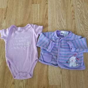 Other - Little Girls Onesie/Ur It Bunny Cardigan Outfit